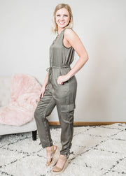 This olive tank jumpsuit is truly adorable with it's cargo ruched ankle.