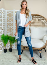 Heather gray short sleeve cardigan with pockets.