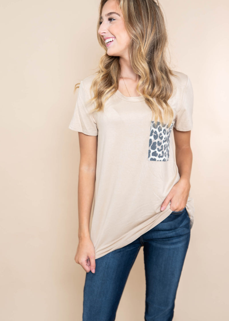 Short Sleeve Cheetah Pocket, CLOTHING, BOMBOM, BAD HABIT BOUTIQUE