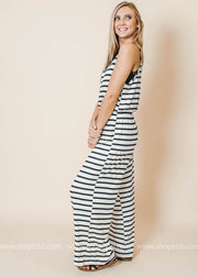 spaghetti strap ivory jumpsuit with black stripes