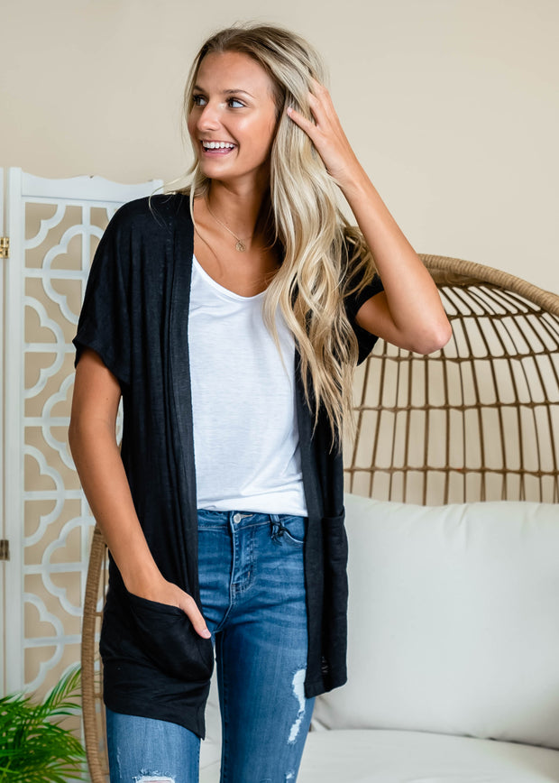 Black short sleeve cardigan