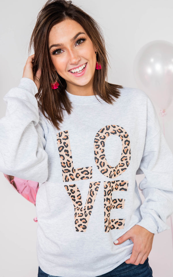 For the Love of Leopard Sweatshirt, CLOTHING, BAD HABIT APPAREL, BAD HABIT BOUTIQUE