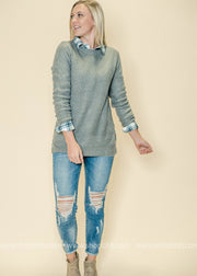 Grey is the new neutral color and we love this crew neck sweater