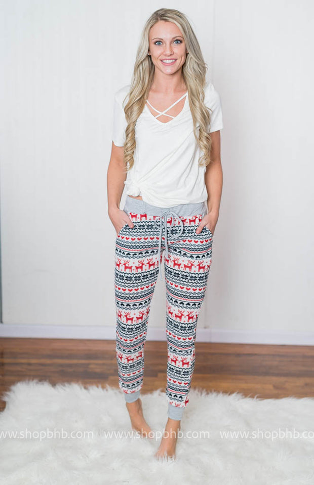 Obsessed with our Holiday Joggers with tiny reindeer on them!!