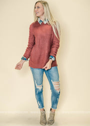 Our dusty rose crew neck sweater is perfect paired with plaid