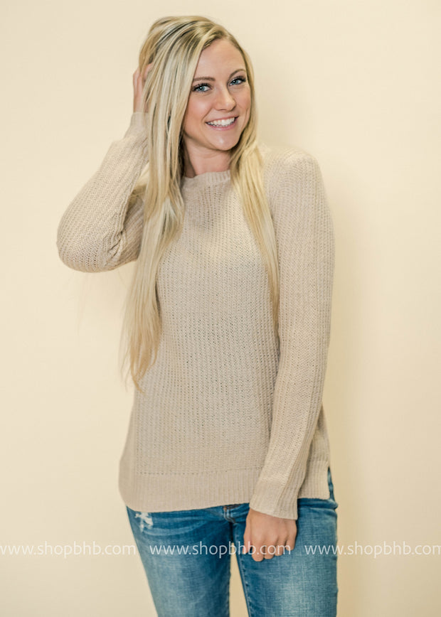 Champagne is the new white of Fall and our crew neck sweaters are perfect