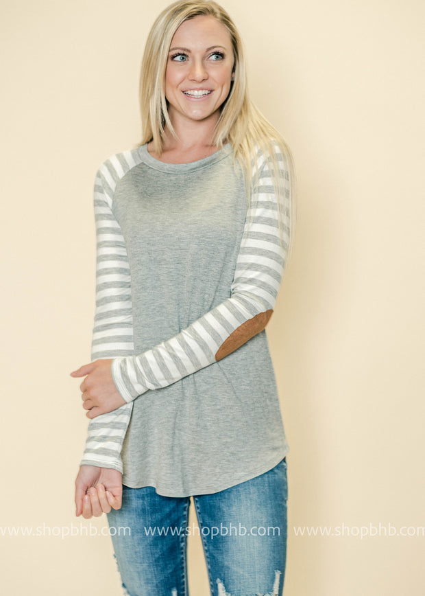 Striped Sleeve Colorblock Top
