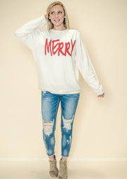 Merry long sleeve top, long sleeve tops, holiday tops, holiday long sleeves, Christmas tops, plus size, plus size long sleeve, Christmas plus size