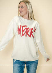 Holiday long sleeve top, long sleeve tops, corduroy tops, corduroy, Merry graphic top,