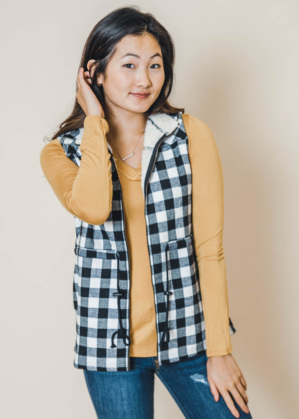 Sherpa Buffalo Plaid Vest - Final Sale, CLOTHING, DoublJU, BAD HABIT BOUTIQUE