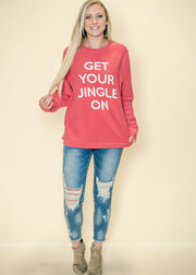 Get Your Jingle On Corduroy Thermal Top | Red, CHRISTMAS, BAD HABIT APPAREL, badhabitboutique