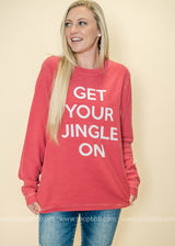 Get Your Jingle On Corduroy Thermal Top | Red - BAD HABIT BOUTIQUE
