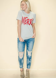 Our gray Merry tee is perfect paired up with skinnies.