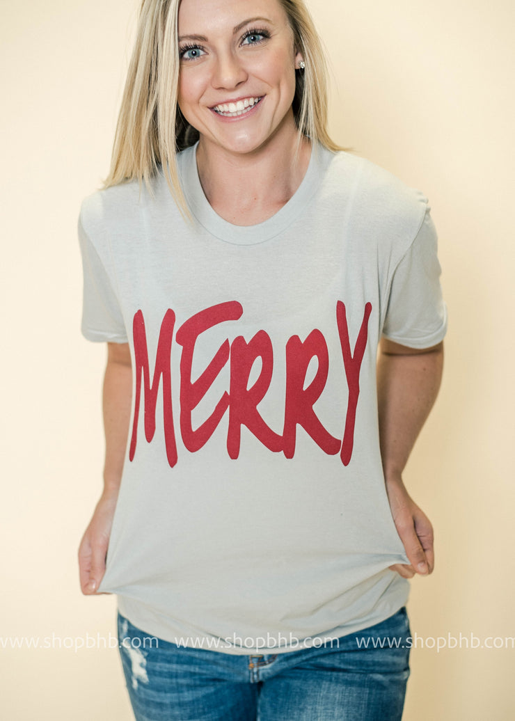Share your holiday spirit with our Merry Graphic Tee