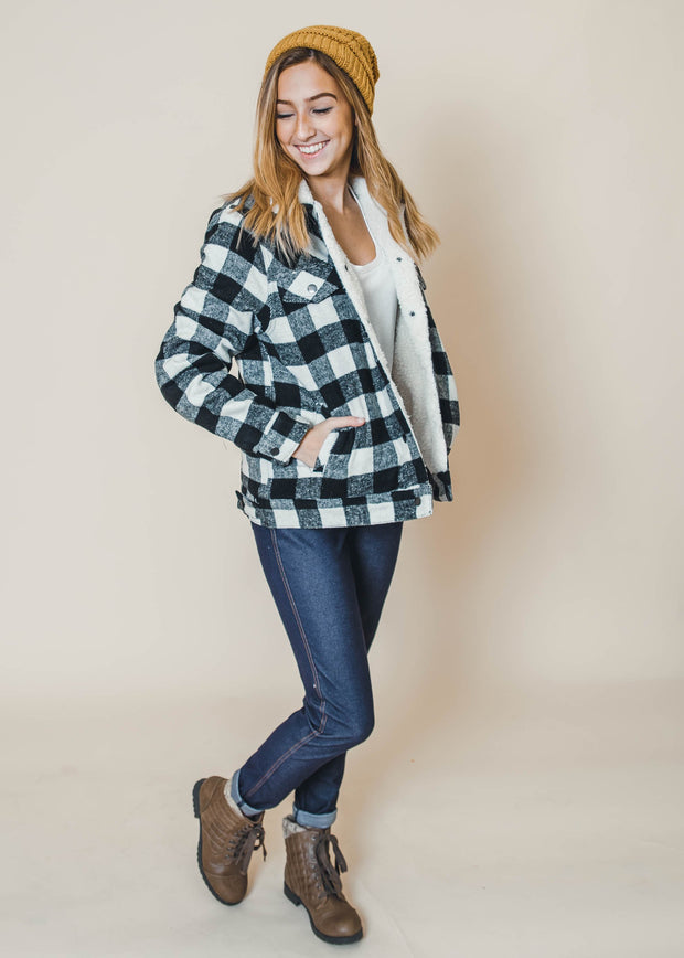 black and white buffalo plaid sherpa jacket, c'est toi, sherpa jackets, jackets, buffalo plaid