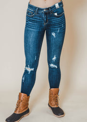 distressed frayed hem dark denim jeans, judy blues