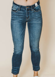 basic mid-rise skinny dark denim jean, judy blue