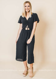 Received the Invite Capri Jumpsuit - Black-FINAL SALE