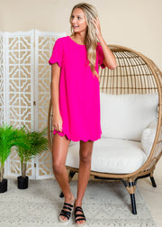Hot pink scallop trimmed shift dress
