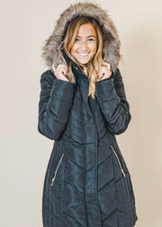 long faux fur lined quilted coat, coalition, fur coats, quilted coats, long coats, jackets, outerwear