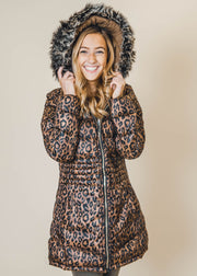 Reversible Cheetah Long Coat, ymi, reversible coat, puffer jacket, jackets, outerwear