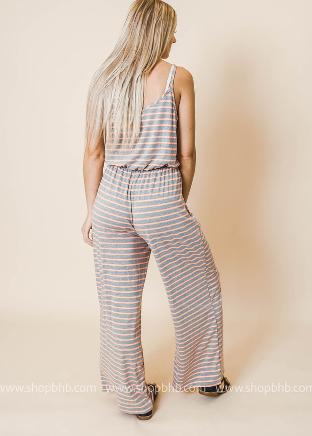 spaghetti strap ivory jumpsuit with orange stripes