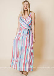 turquoise striped maxi dress