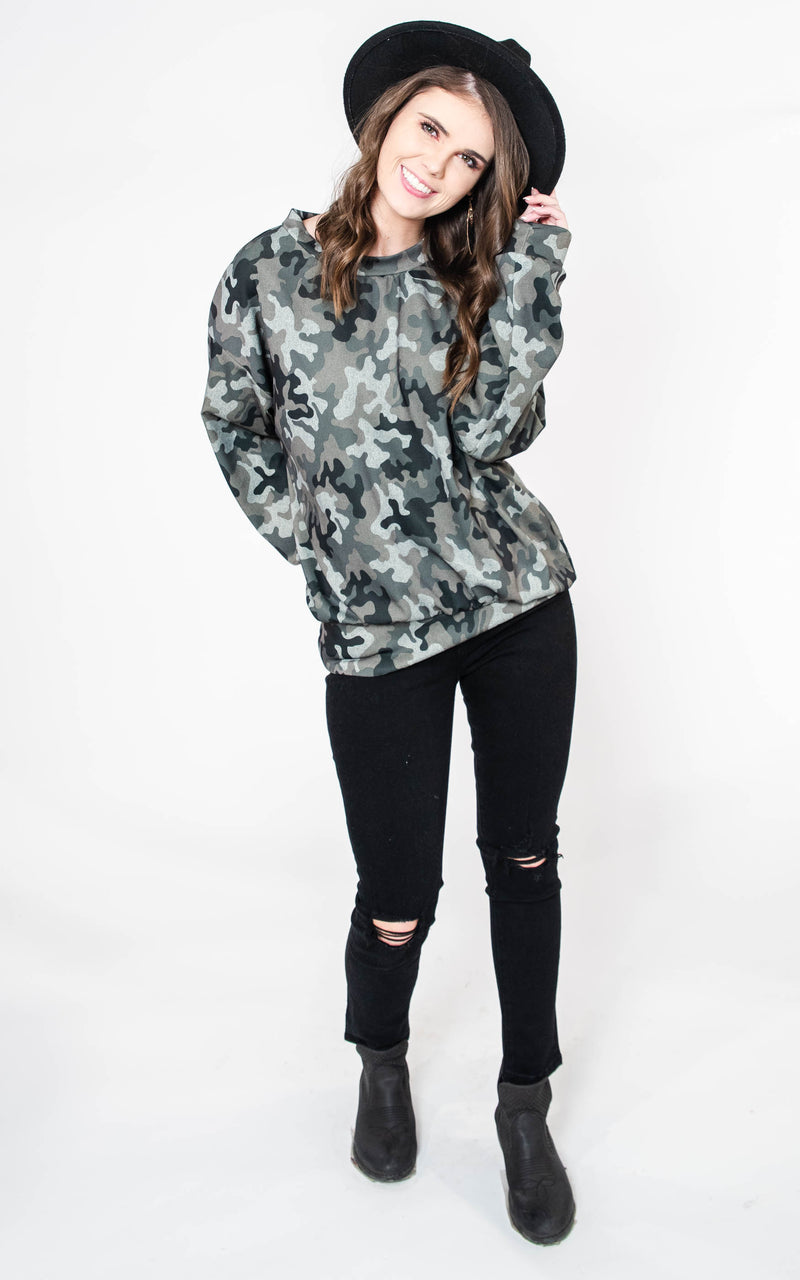 Long Sleeve Camouflage Knit Top   [WHITE BIRCH] FINAL SALE, CLOTHING, White Birch, BAD HABIT BOUTIQUE