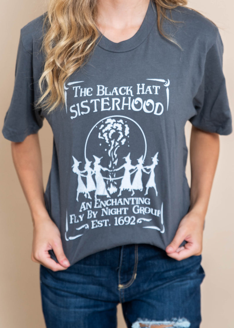The Black Hat Sisterhood Tee | Charcoal, CLOTHING, BAD HABIT APPAREL, BAD HABIT BOUTIQUE