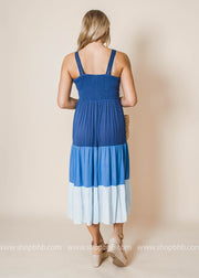 Colorblock Maxi Dress with Crochet Detailing