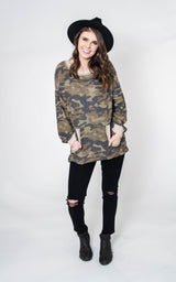 Soft & Cozy Camo Top, CLOTHING, White Birch, BAD HABIT BOUTIQUE