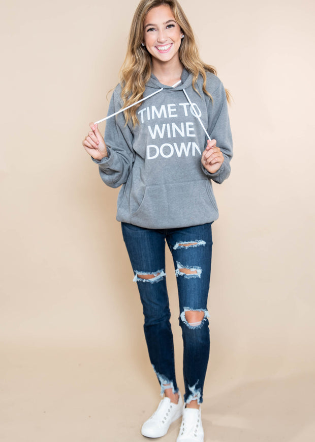 Time To Wine Hoodie |  Dark Gray, CLOTHING, BAD HABIT APPAREL, BAD HABIT BOUTIQUE