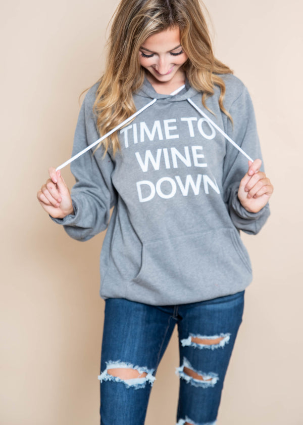 Time To Wine Hoodie |  Dark Gray - BAD HABIT BOUTIQUE