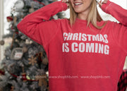 Christmas Is Coming Corduroy Thermal Top | Red, CHRISTMAS, BAD HABIT APPAREL, BAD HABIT BOUTIQUE