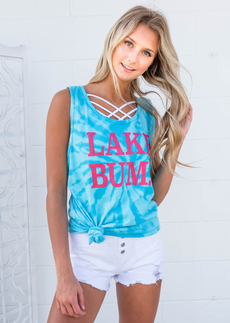 Lake Bum Turquoise Tie Dye Muscle Tank - Unisex, CLOTHING, BAD HABIT APPAREL, BAD HABIT BOUTIQUE