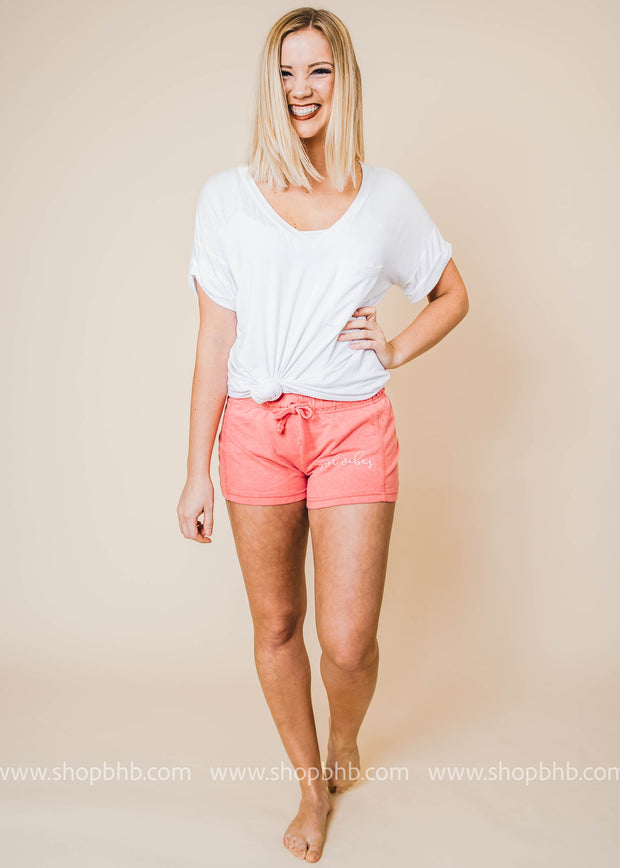 pool vibes graphic shorts with drawstring waist in coral