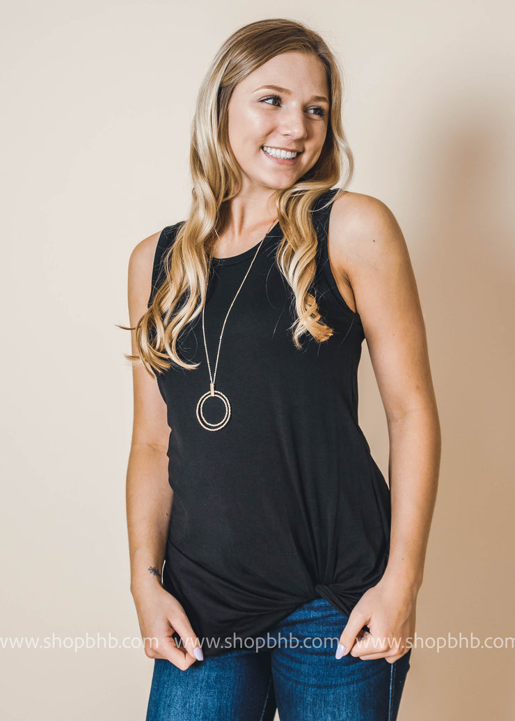 twist tank top in BLACK