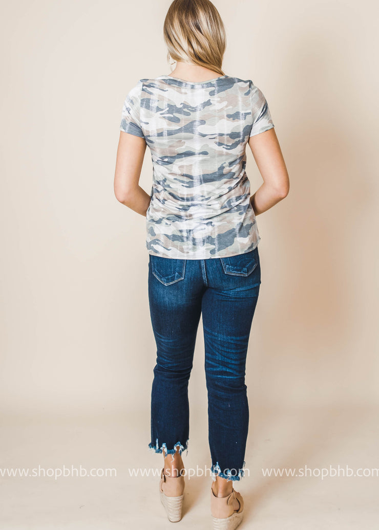 Distressed Camo Criss Cross Top | FINAL SALE