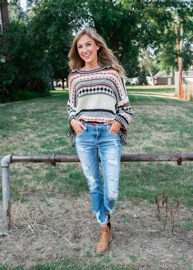 creams and rust striped knit sweater