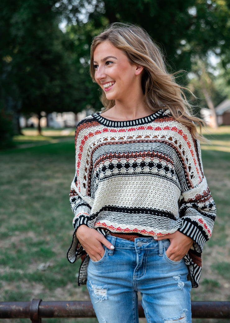 fall striped knit sweater for women