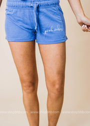 pool vibes graphic shorts with drawstring waist in blue