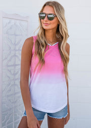 rose ombre dip dyed tank top