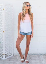 peach ombre tank top for women