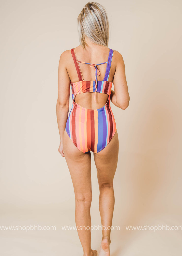 striped one piece with tie back