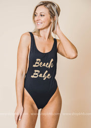 Beach babe black one piece high cut swimsuit