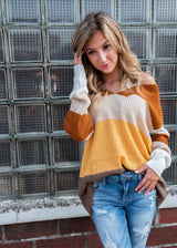Color Block Pullover V Neck Sweater, CLOTHING, Cozy Casual, BAD HABIT BOUTIQUE