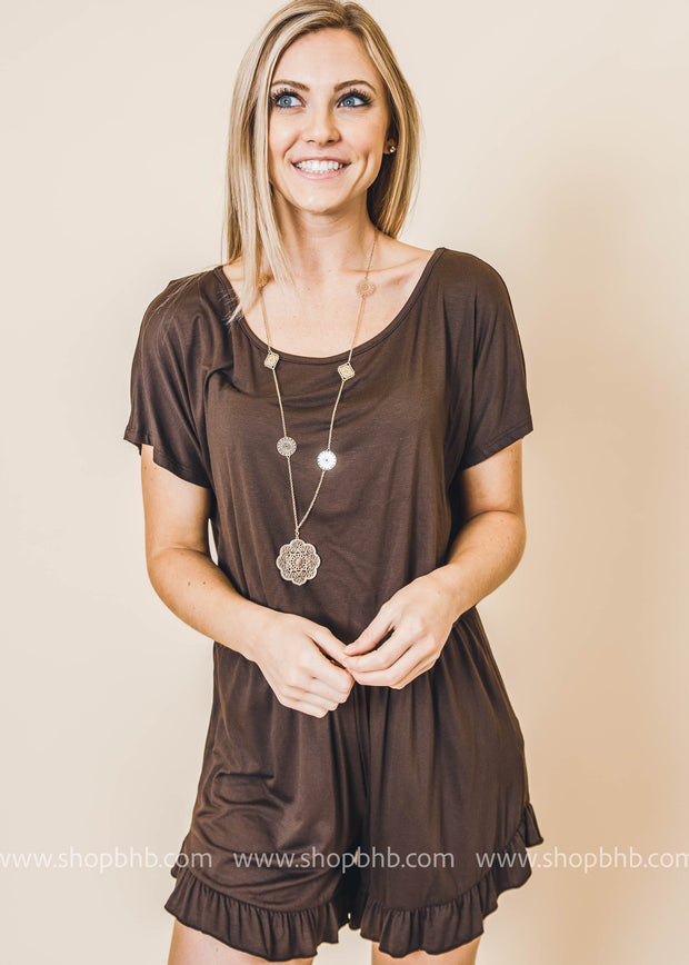 brown basic romper