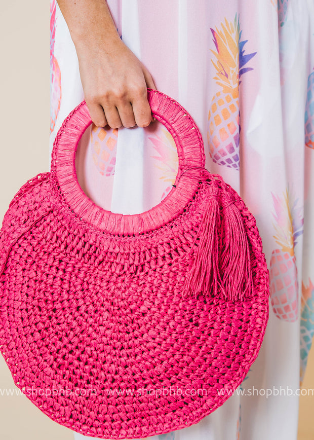 Sunday Afternoon Round Straw Bag Fuchsia | FINAL SALE