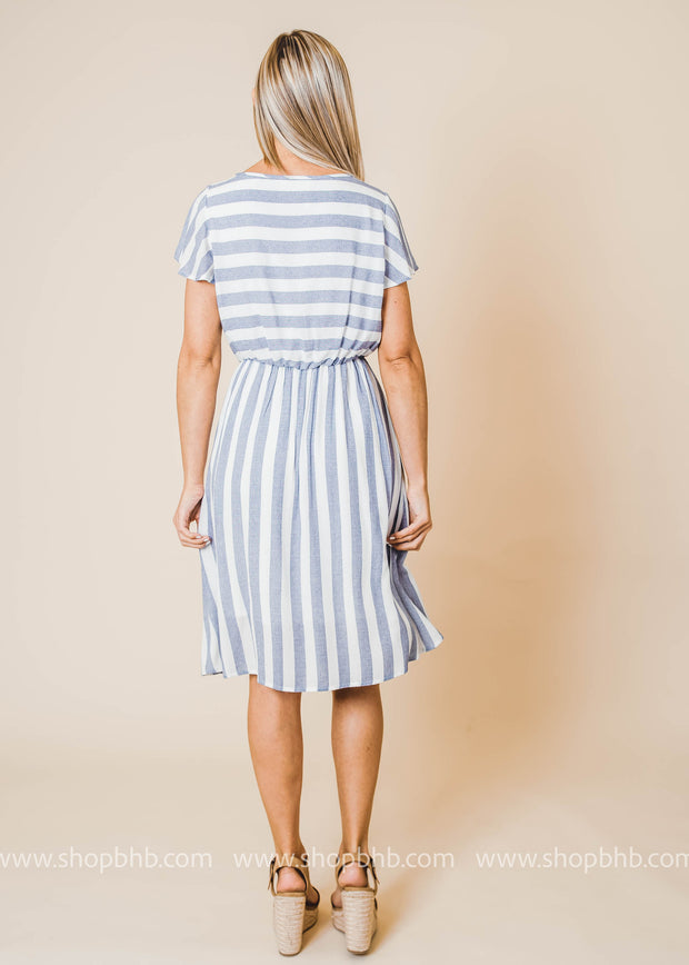 short sleeve flutter striped dress features a v-neck and elastic waist band