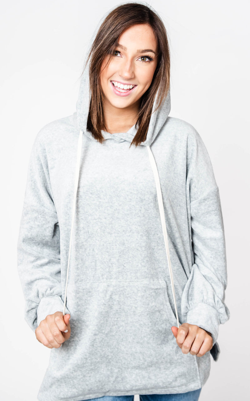 Long Sleeve Solid Velour Hoodie- White Birch | FINAL SALE, CLOTHING, White Birch, BAD HABIT BOUTIQUE
